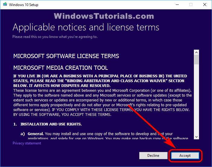 Media Creation Tool terms and conditions