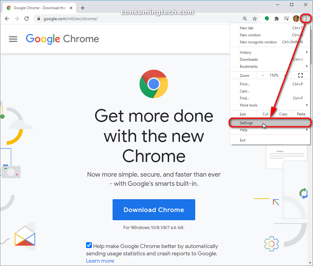 Google Chrome: Settings and more link