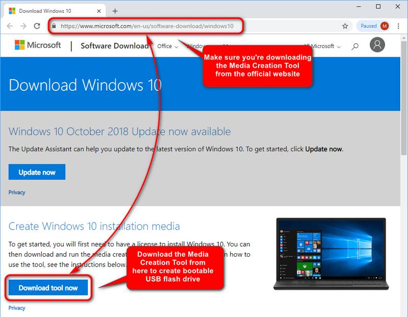 Create Windows 10 installation media: Download Media Creation Tool