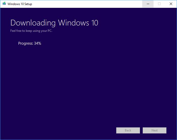 Media Creation Tool: Downloading Windows 10