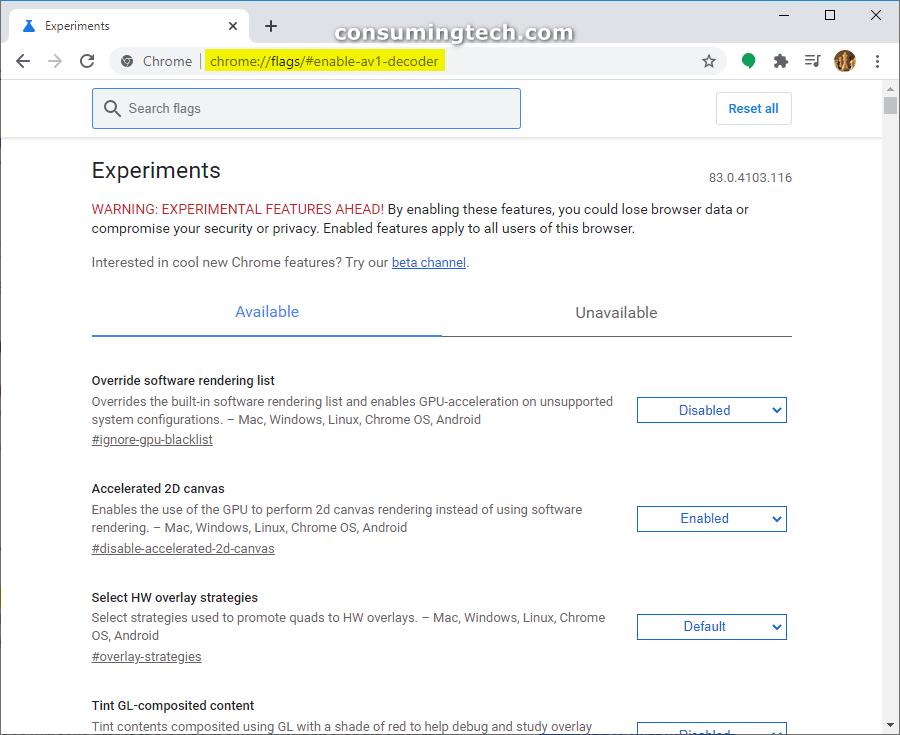Google Chrome: Enable AV1 Decoder