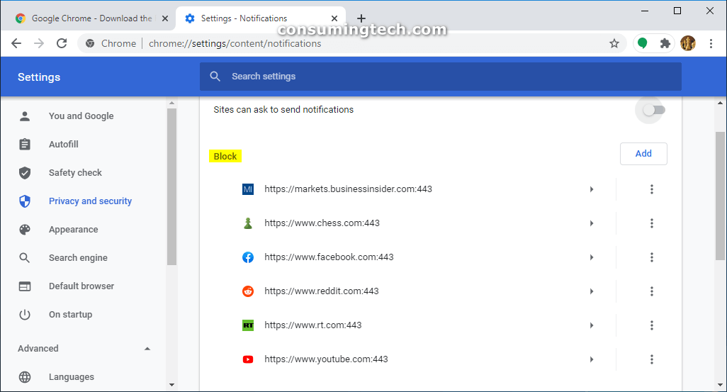 Google Chrome notifications that are blocked