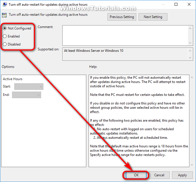 Turn off auto-restart for updates during active hours policy