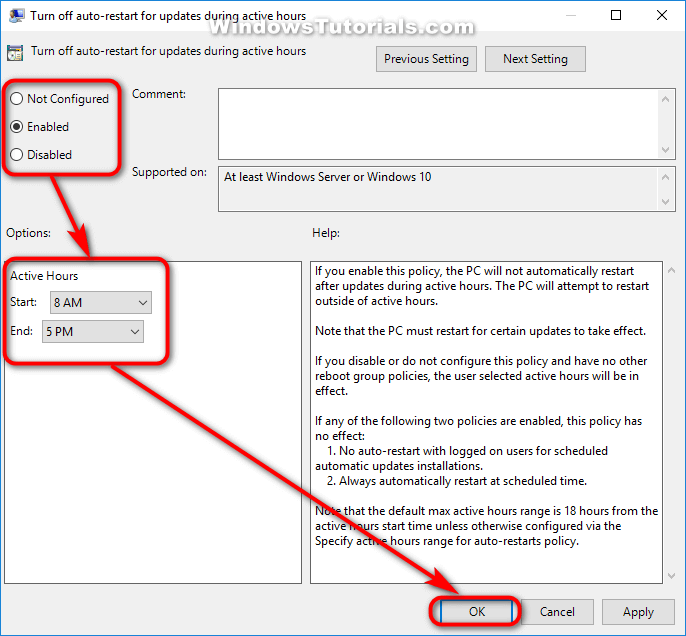 Turn off auto-restart for updates during active hours policy enabled