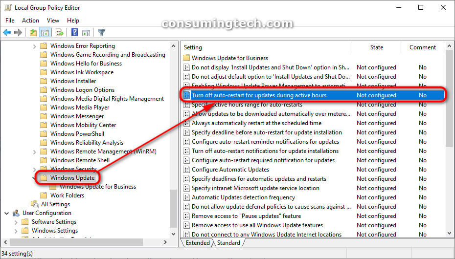 Local Group Policy Editor: Turn off auto-restart for updates during active hours