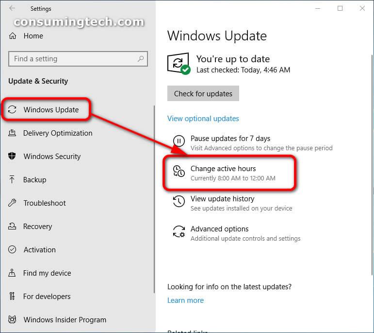 Windows Update: Change active hours