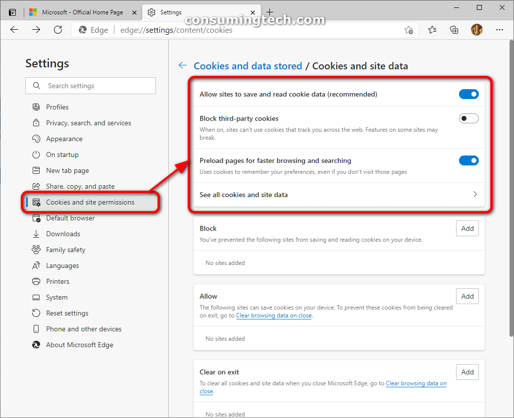 Microsoft Edge: Cookies and site permissions/Block third-party cookies