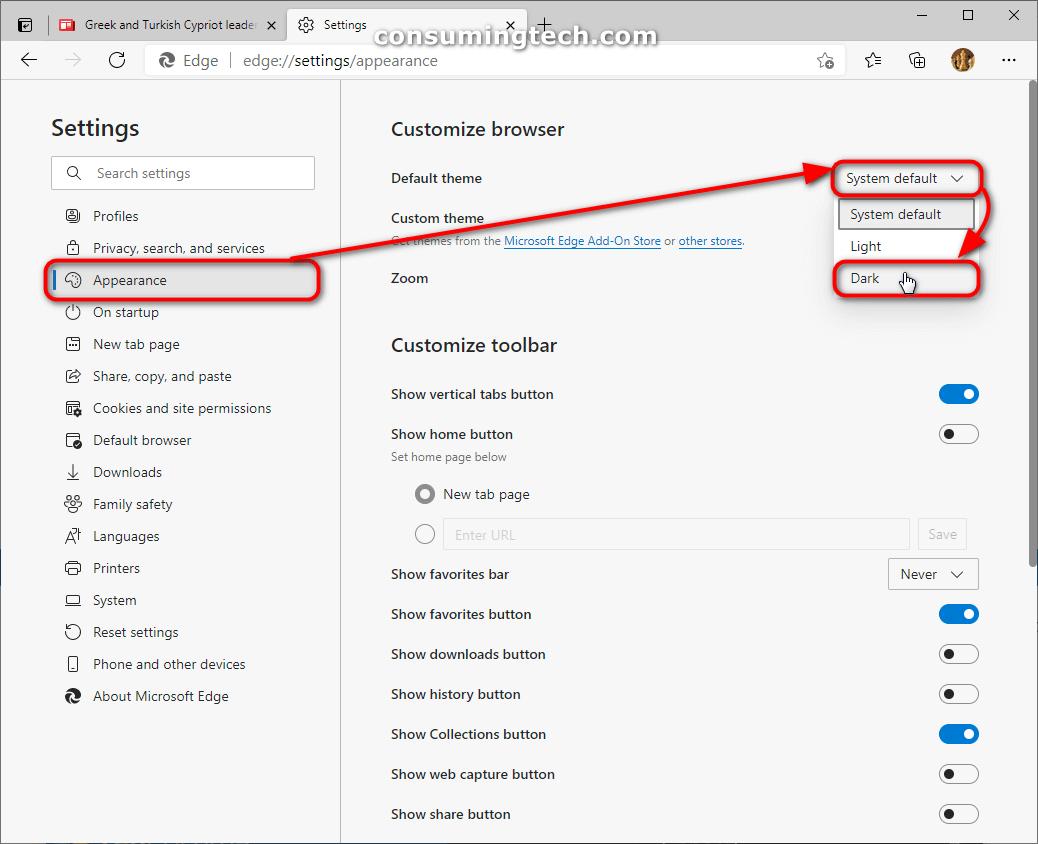 Microsoft Edge: Settings > Appearance > Customize browser > Dark theme