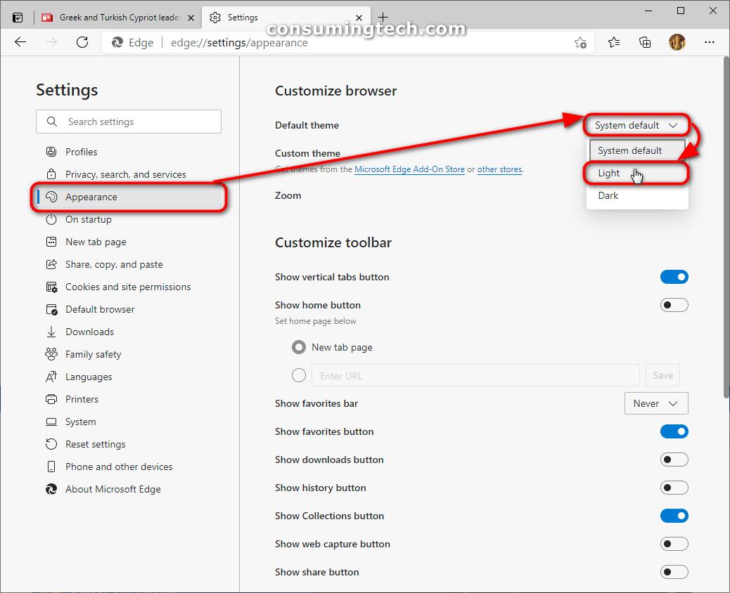 Microsoft Edge: Settings > Appearance > Customize browser > Light theme