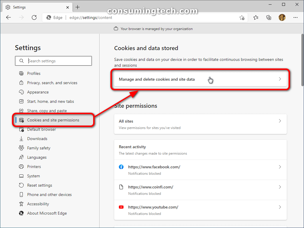 Edge: Cookies and site permissions > Manage and delete cookies and site data