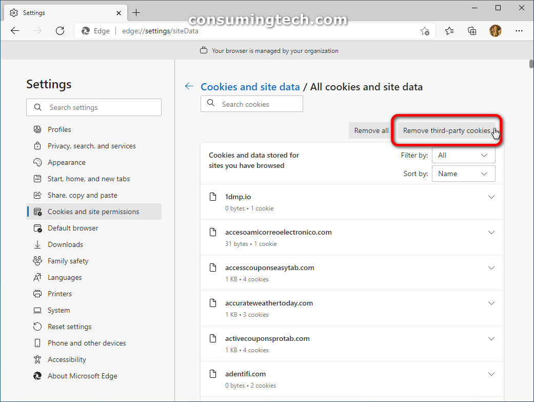 Edge: All cookies and site data > Remove third-party cookies/Remove all cookies