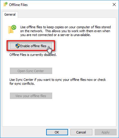 Enable offline files