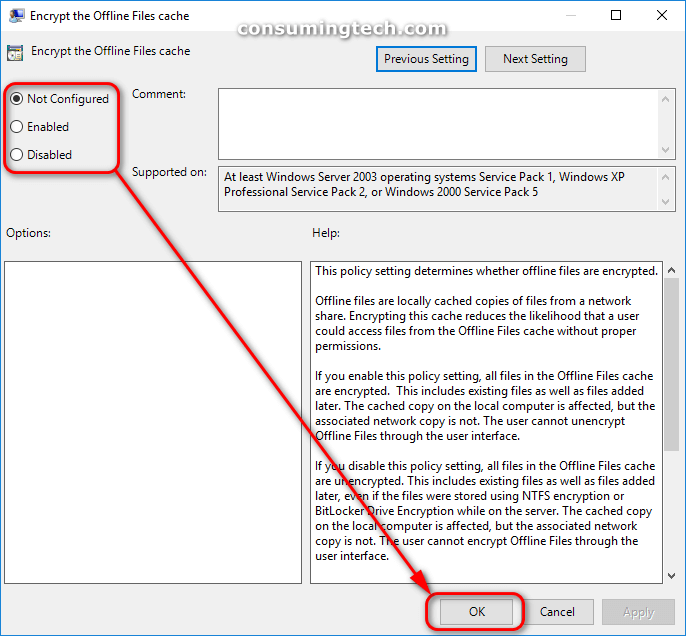 Encrypt Offline Files cache group policy