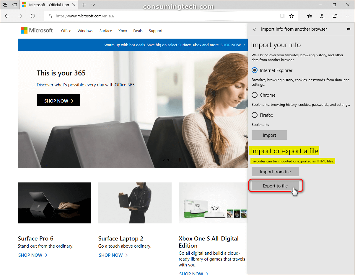 Microsoft Edge -- Import or export a file