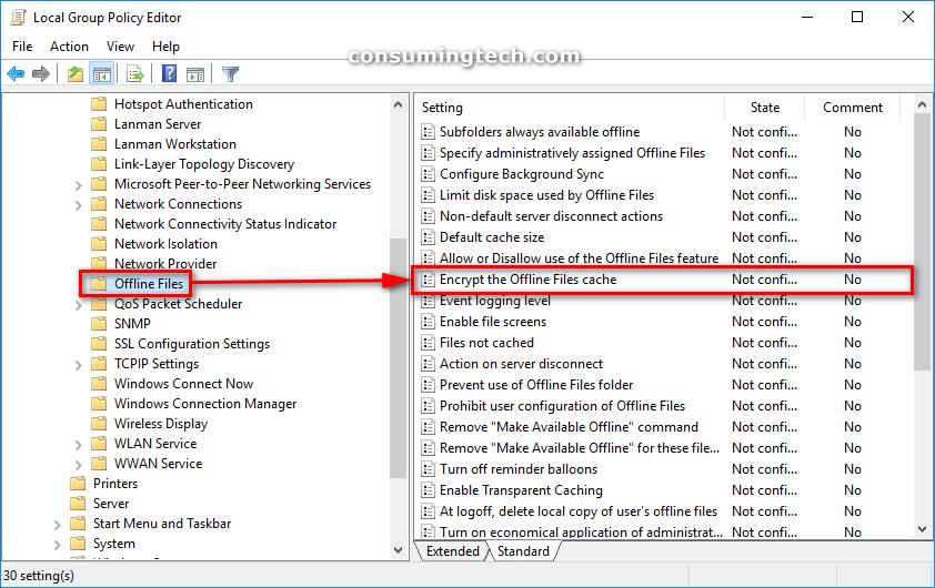 Offline Files -- Encrypt the Offline Files Cache