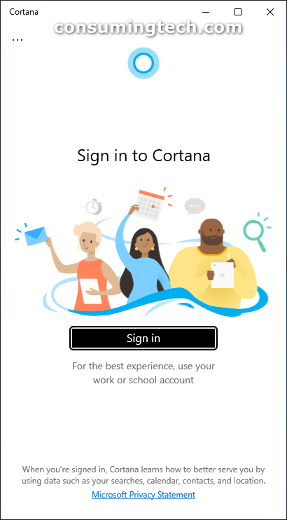 Sign in to Cortana