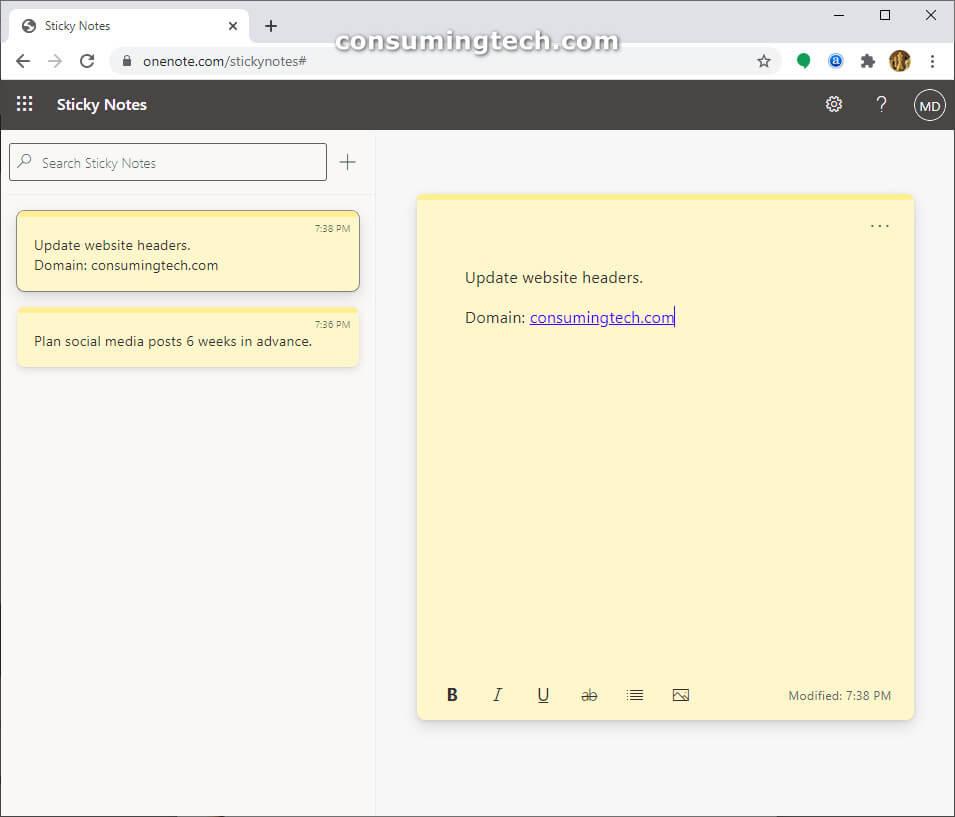 Sticky Notes web client via Microsoft OneNote online