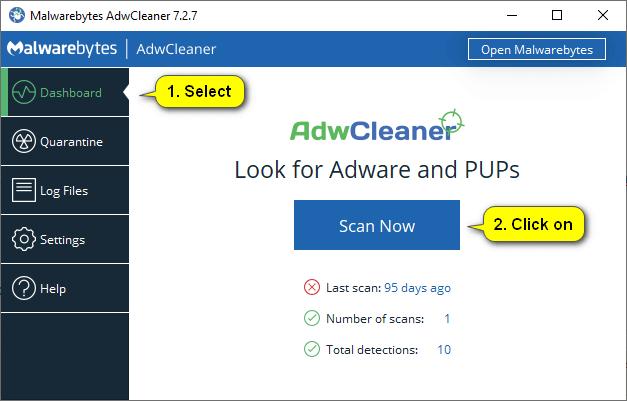 AdwCleaner dashboard -- Scan now button
