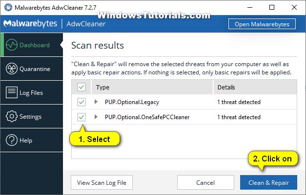 AdwCleaner -- Scan results