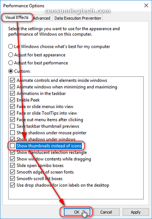 performance options - visual effects tab, show thumbnails instead of icons