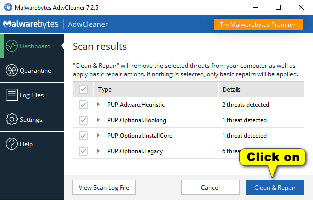 AdwCleaner - Scan results