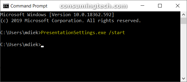 Start Presentation Settings command in CMD