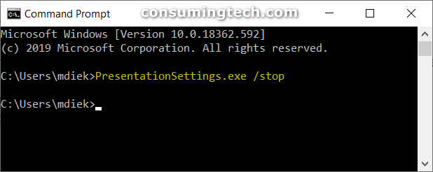 Stop Presentation Settings command in CMD
