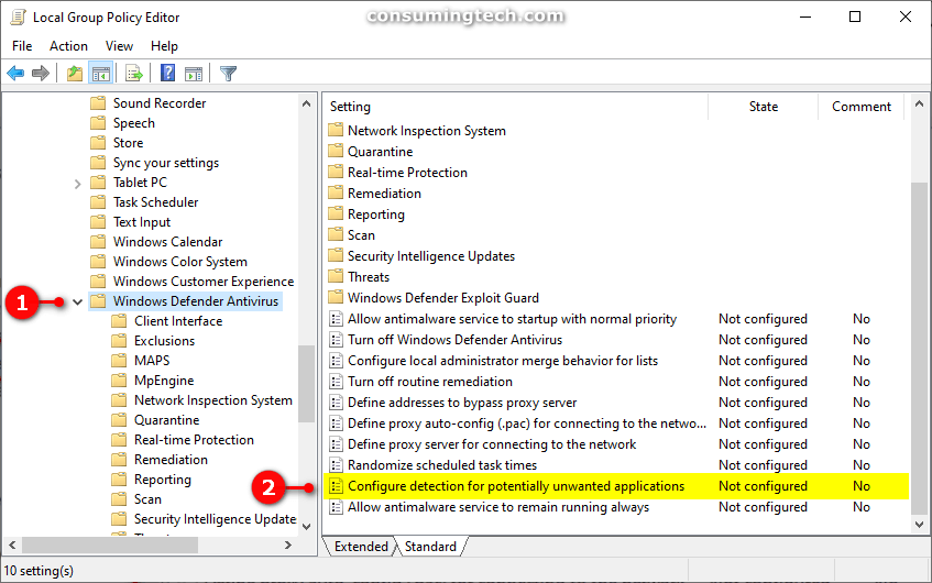 Windows Defender Antivirus -- Configure detection for potentially unwanted applications