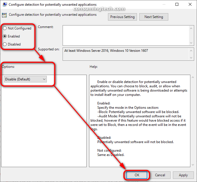 Configure detection for potentially unwanted applications policy settings