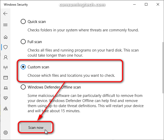 Windows Security: Custom scan