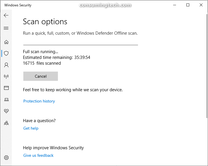 Windows Security: Full scan running