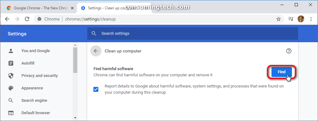 Google Chrome: Find harmful software