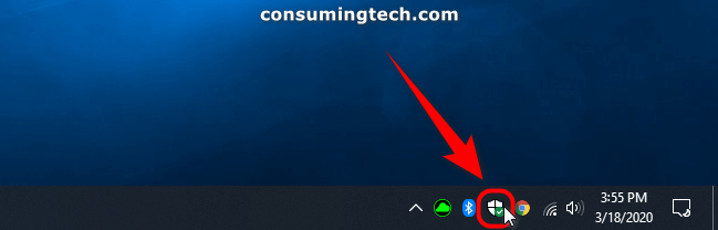 Microsoft Defender icon in Notification Area