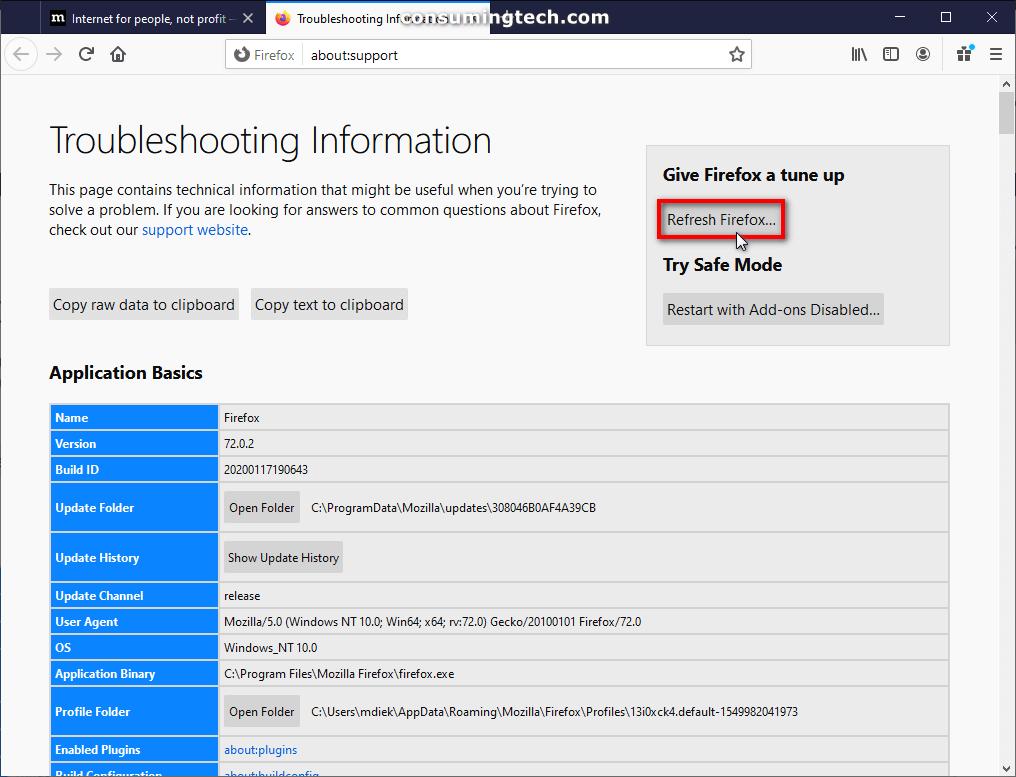 Mozilla Firefox: Reset Firefox