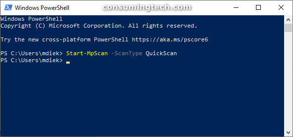 Windows PowerShell: MPScan QuickScan completed