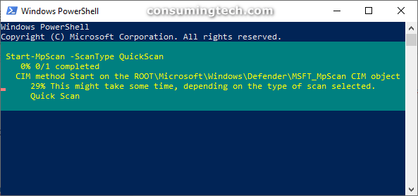 Windows PowerShell: MPScan QuickScan running