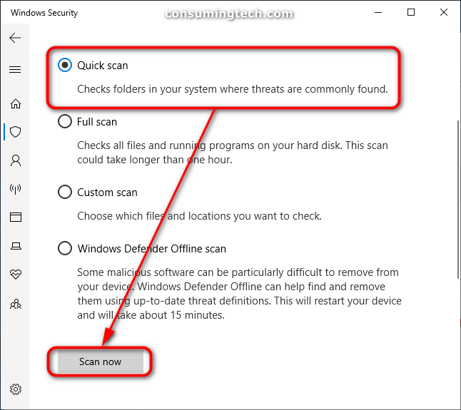 Windows Security: Quick scan