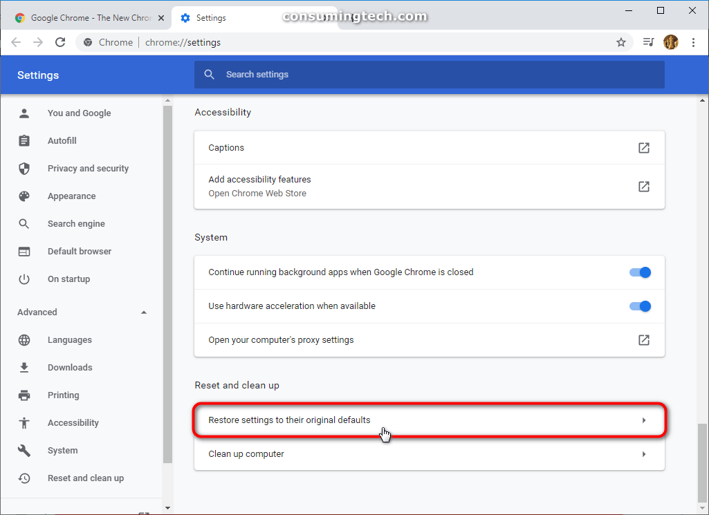 Google Chrome: Restore settings to their original defaults