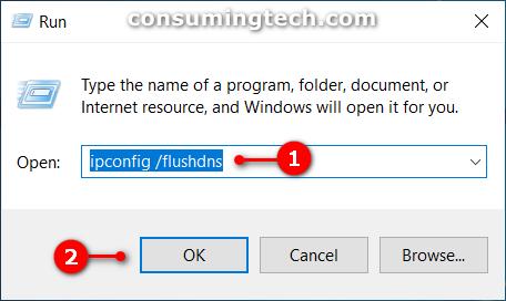 Run dialog: ipconfig /flushdns command