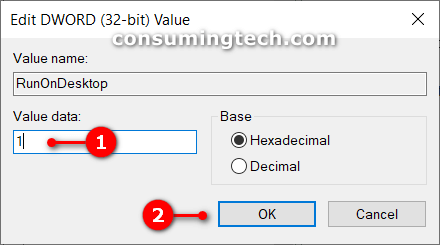 RunOnDesktop Value Data
