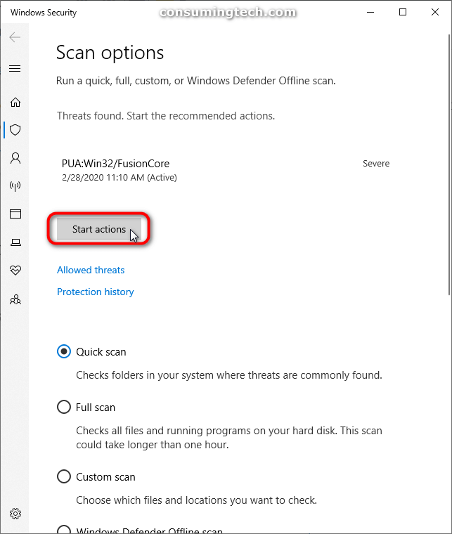 Windows Security: Start actions