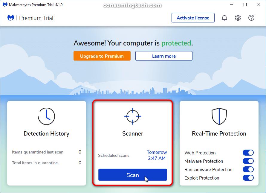 Malwarebytes: Scan button