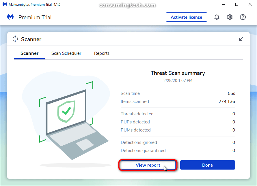 Malwarebytes Scanner: View report