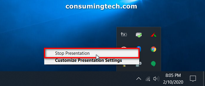 Presentation Settings from taskbar