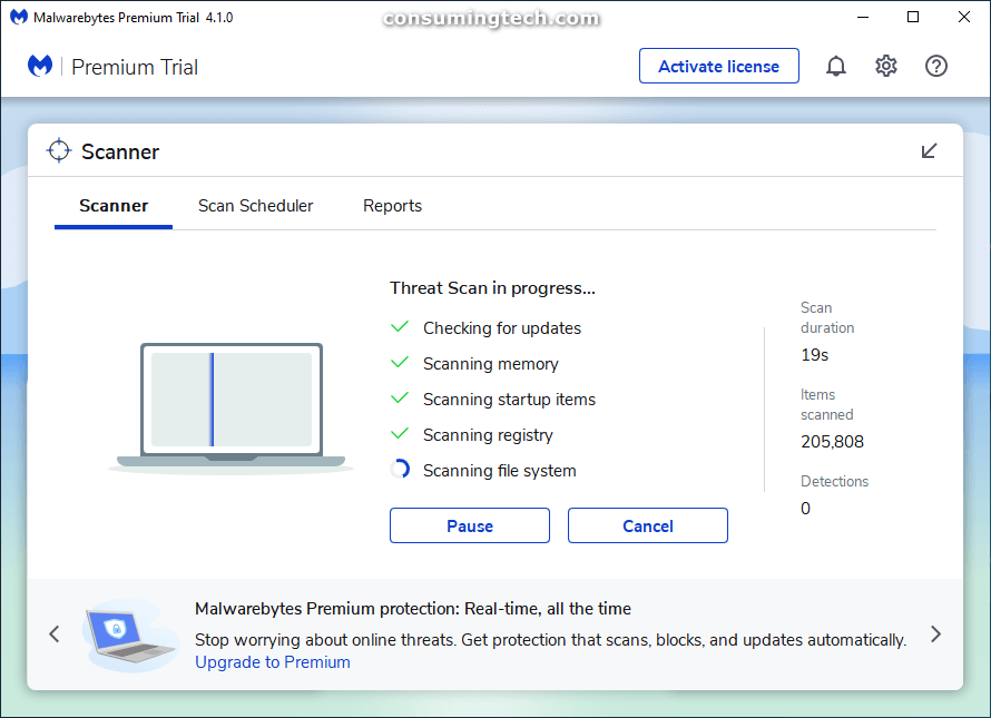 Malwarebytes: Threat scan in progress