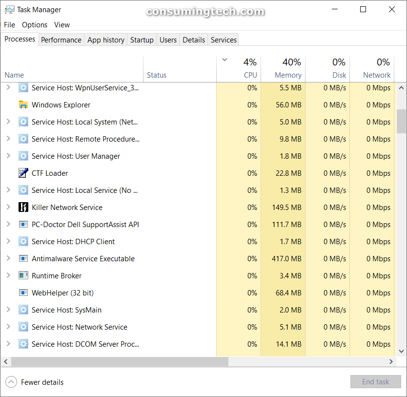 Windows 10 running processes