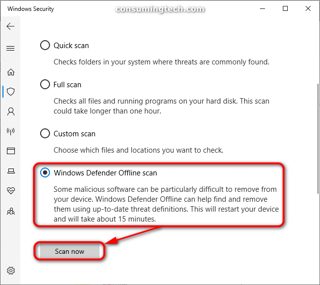Windows Security: Windows Defender Offline scan