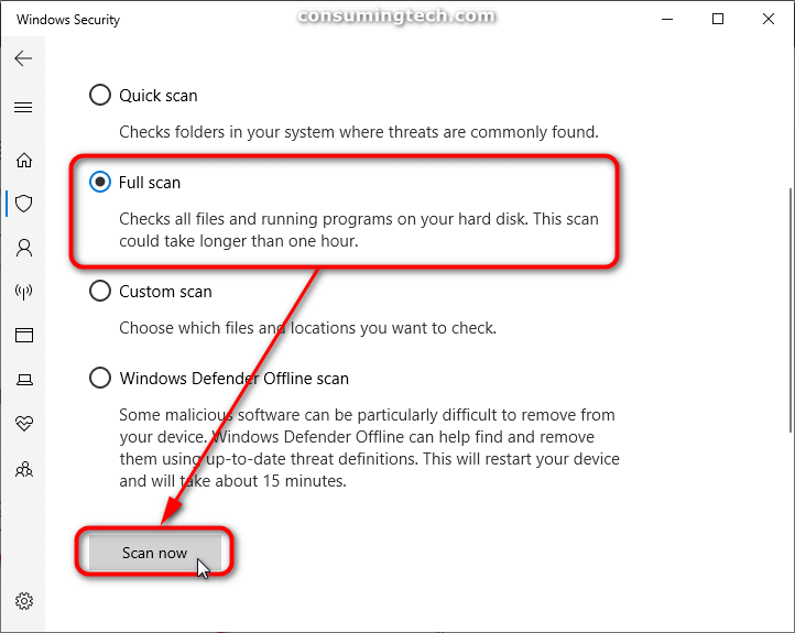 Windows Security: Full scan