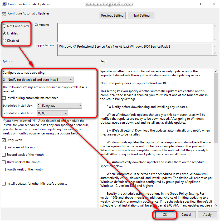 Configure Automatic Updates policy window