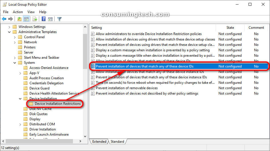 Local Group Policy Editor: Device Installation Restrictions